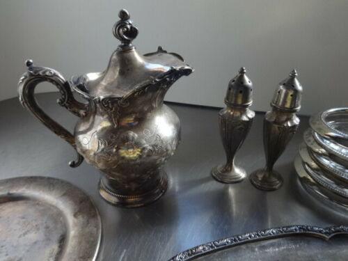 Antique/Vintage Silver Plate LOT/ Creamer/Dish/Plate /S& P Shaker//FREE SHIP!!!