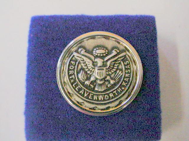 Vintage Lapel Pin Fort Leavenworth - Eagle Motif Silver Color