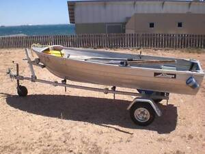 Aluminium Dingy 3.4m on new Dunbier fold up trailer and motor Wallaroo Copper Coast Preview