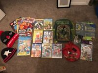 Boys toy Bundle: Hot wheels, Ninja turtle rucksack, 7 DVDs, Spiderman hat, magazines, car floor mat