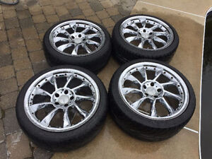 audi, mercedes,volks chrome wheels 18 pouce avec pneus staggered