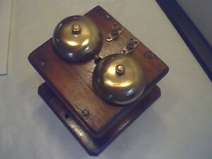 Antique Oak Telephone Ringer Box with Brass Bells and Fittings