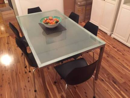 Designer Stainless Steel & Glass Dining Suite with 6 Chairs North Willoughby Willoughby Area Preview