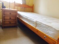 Single Pine Bed with matching Chest of Drawers