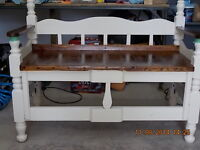 Bench reclaimed from antique single bed