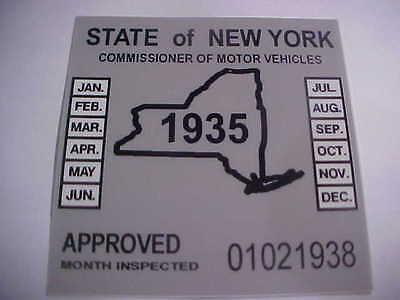 new york 1935 inspection sticker windshild model t / street rod