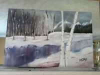"NEW PRICE ""Winter Stream"" Oil Painting by local artist"