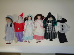 6 porcelain head and limb dolls with soft bodies