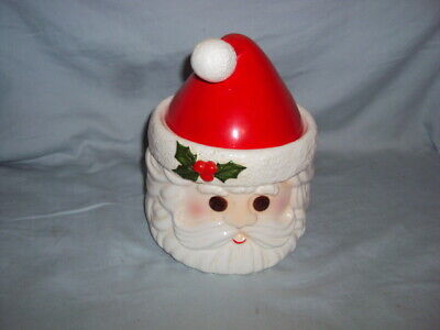Vintage 1978 Fitz & Floyd Christmas Santa Head Candy Cookie Treat Jar WONDERFUL!