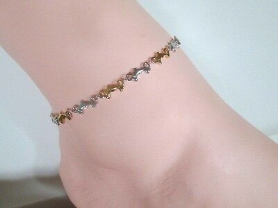 Anklet Ankle Bracelet Dolphin Gold Plated & Silver Stainless Steel Select Size