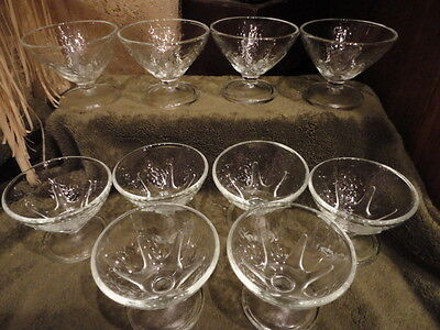 """Clear Glass Sherbet Sunday(s) Frosted Star Pattern Noodle (10) 2-3/4"""" T Vintage"""