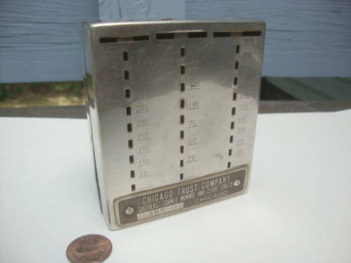 Vintage Advertising Coin Bank Chicago Trust Thrift Square Slotted Promotional!