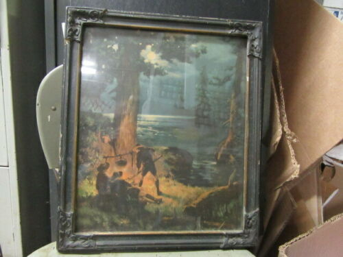 Boy Scout Print of Early Boy Scout Campsite, Framed      TH1