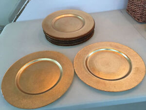 Gold painted glass plates