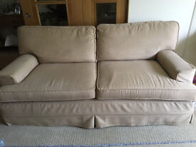 3 Seater Settee, 2 Armchairs, Foot Stool, 2 sets of Covers, Plain Mushroom/Beige & Pattern