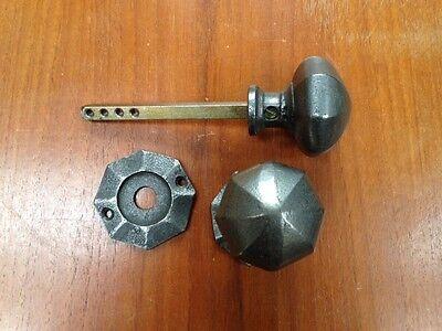 Cast Iron Pair Octagonal Door Knob/Gothic Style/Mortice Rim Lock//Rustic/55mm