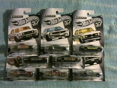 2017 Hot Wheels 50th Anniversary ZAMAC Complete Set Of 8 NIP Thailand
