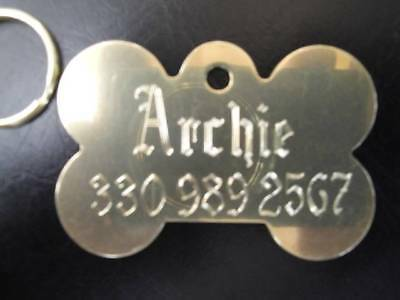 Solid Brass Dog Tag for Active Dogs  - Custom Diamond Engrav