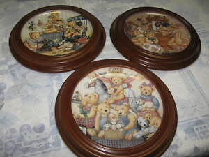 Nita Showers Teddy Bear Collector Plates in Frames