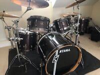 Tama superstar hyperdrive drum kit in red sparkle
