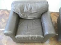Large Armchair or Single Sofa . Made of Leather . Size : H=85cm , W=105cm , D=85cm
