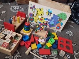 Wonderful Childrens Toy Chest with all sorts of learning and building toys for young children £6