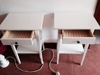 white bedside tables x 2