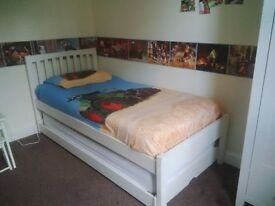 single bed with spare underneath bed - pine painted off-white