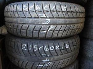 215/60 R16 MICHELIN PRIMACY ALPIN USED SNOW TIRES (SET OF 2) - APPROX. 75% TREAD