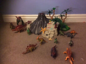 Playmobil Volcano and huge set of dinosaurs