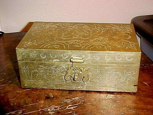 1930s Chinese Heavy Ornate Brass Box w/Dragons Japanese Soldier Souvenir Booty?