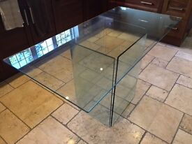Modern Glass Dining Table Glass Base Seats 4 to 6