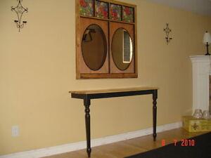 Black/wood Table, Mirror Old Window
