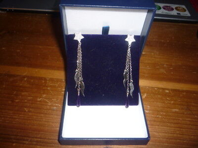 JUST GORGEOUS 9CT WHITE GOLD, DIAMOND STAR, LONG DROPWITH AMETHYST EARRINGS. BOX