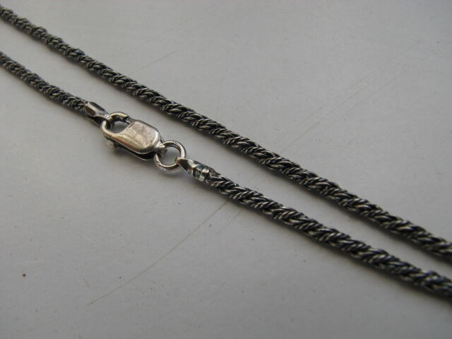 22 inch Sterling Silver 2mm Antique Oxidized Rope Chain with Lobster Clasp