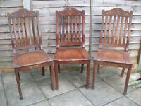 Three Solid Timber Chairs With Decorative Embellishments