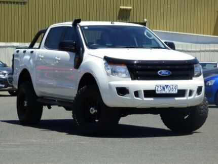 2013 Ford Ranger PX XL Double Cab White 6 Speed Manual Utility Diggers Rest Melton Area Preview