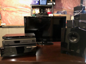 TV, Blu Ray, Receiver, Stereo Tuner and 4 speaker Home Theatre