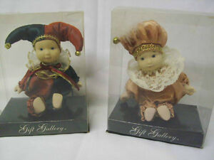 Two Small Porcelain Jester Dolls (Truro)