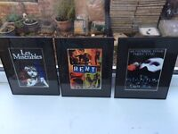 Set of 3x Framed A5 West end theatre posters in black frames