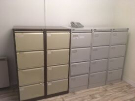 13 modern second hand bisley type filing cabinets