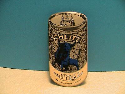 SCHLITZ STOUT MALT LIQUOR BREWERY BEER CAN SHAPED PIN PINBACK W/ BLUE BULL LOGO