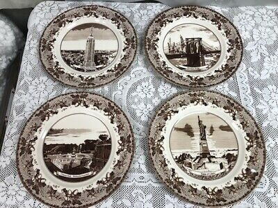 Johnson Brothers Historic America Brown II - 4 Dinner Accent Plates 10 3/4