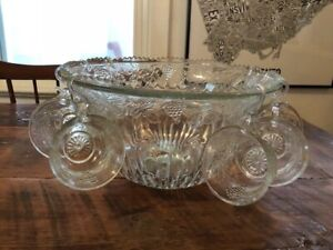 Glass punchbowl with 7 cups