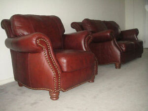 Classic 100% Leather Loveseat And Armchair, Can Deliver