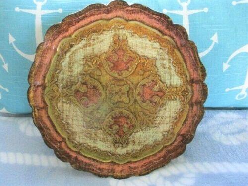 Pink Gold Gilt Round Vintage Italian Florentine Tole Wood Designer Tray Plate