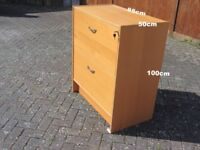 Filing Cabinet Wooden with 2 transverse Drawers