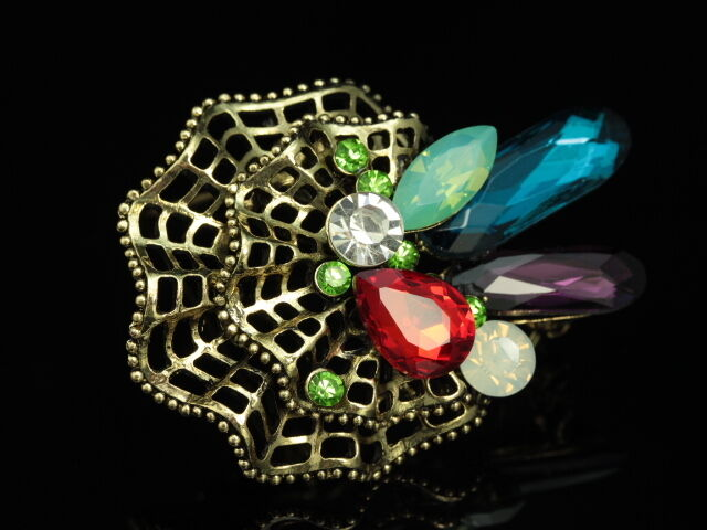 red amethyst green opal crystal Bouquet brooch pin pendant jewlery gold F93-2