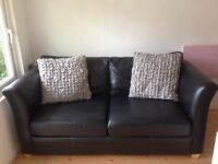 2 Seater Black Leather Sofabed
