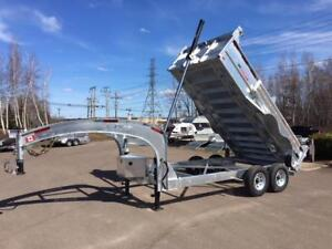 "NEW 2018 K-TRAIL 80"" x 14' HD GALVANIZED GOOSE NECK DUMP TRAILER"